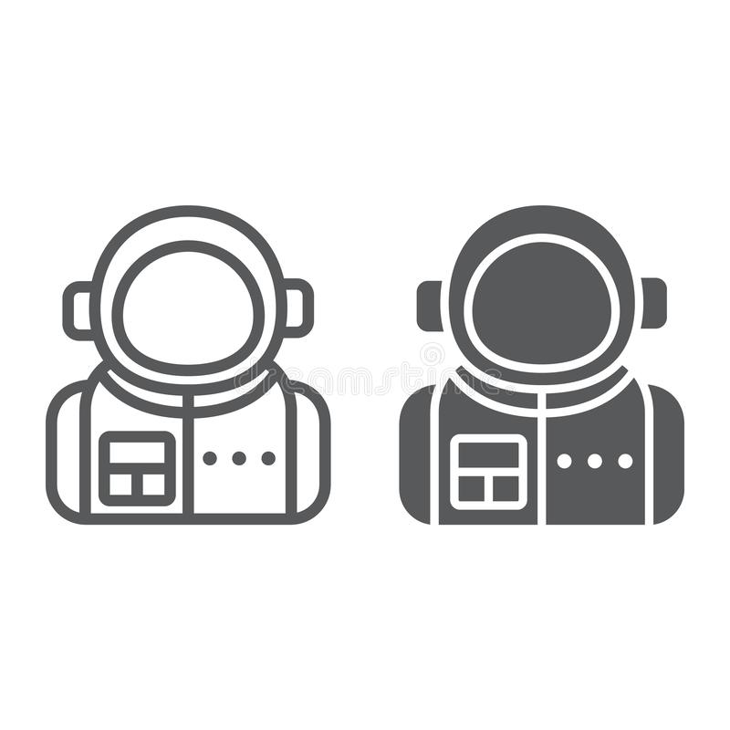 Astronaut line and glyph icon, spaceman and astronomy, cosmonaut sign, vector graphics, a linear pattern royalty free illustration