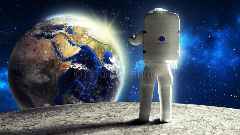 astronaut looks at the earth from the moon Elemen ts of this image furnished by NASA 3d render royalty free illustration