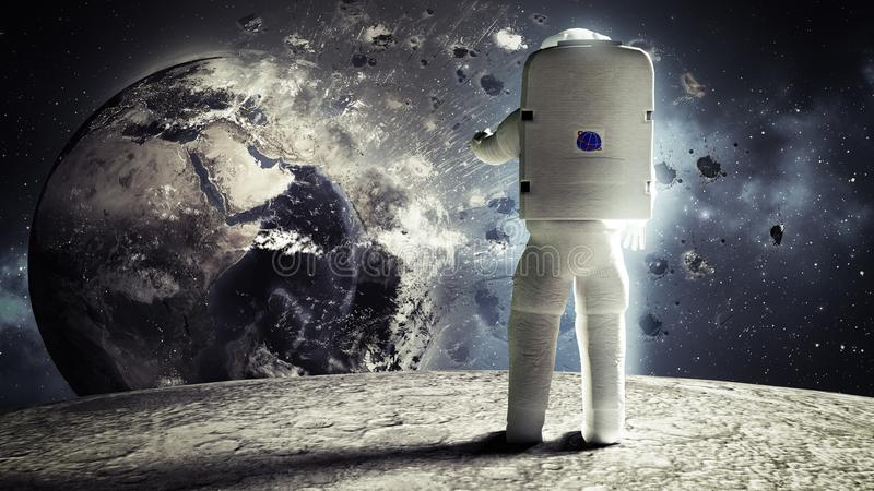 astronaut looks at the earth from the moon Elemen ts of this image furnished by NASA 3d render stock image