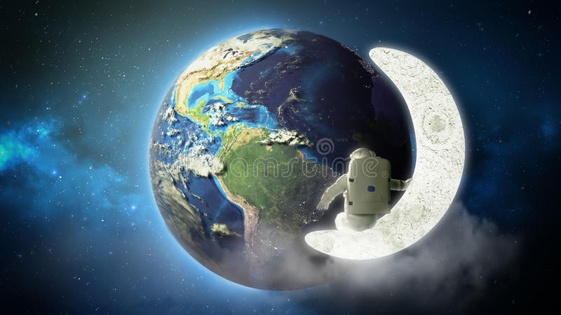 astronaut looks at the earth from the moon Elemen ts of this image furnished by NASA 3d render stock illustration