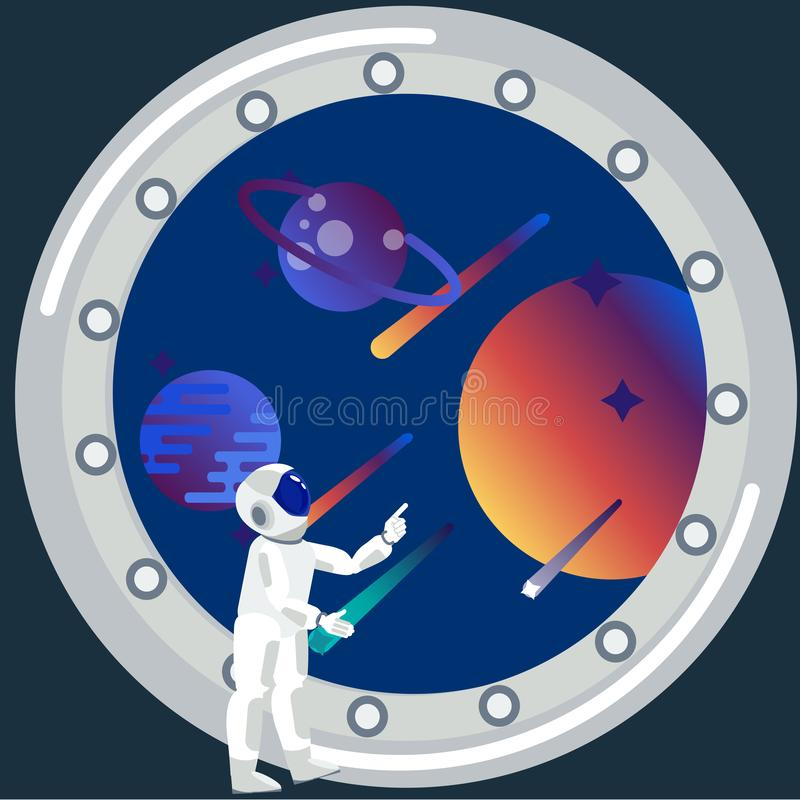 Astronaut looks out the window. The theme of space travel. In minimalist style Cartoon flat raster. Illustration stock photo