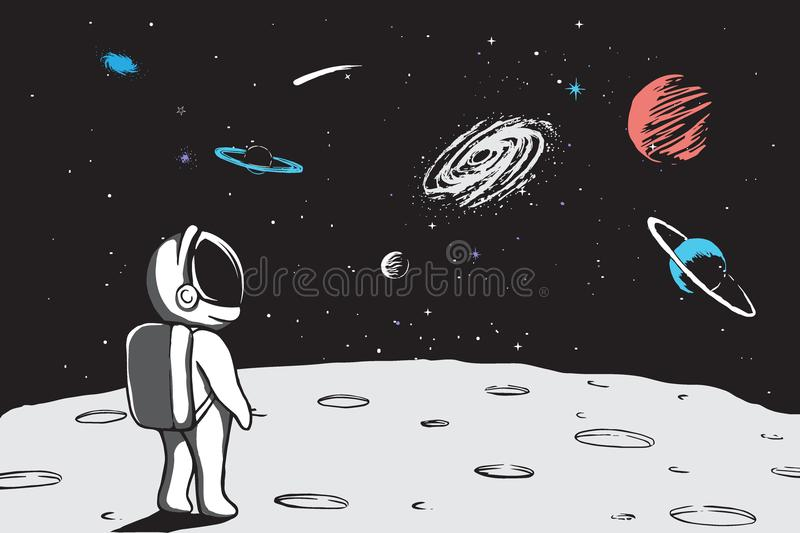 Astronaut looks to universe from planet vector illustration