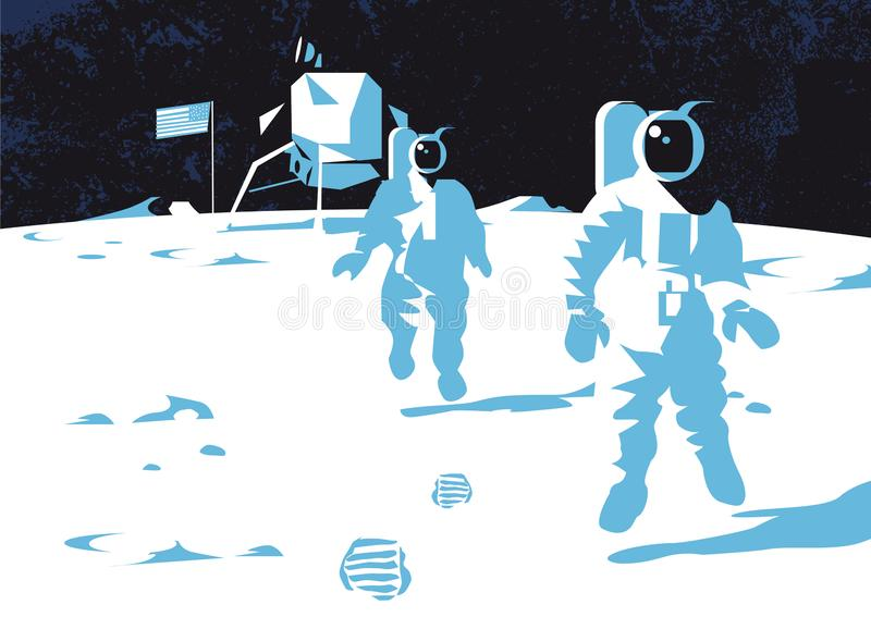 Astronaut on lunar moon landing mission, vector illustration vector illustration