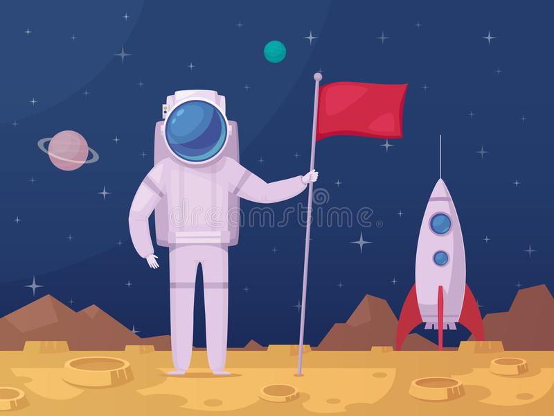 Astronaut Lunar Surface Cartoon Icon royalty free illustration