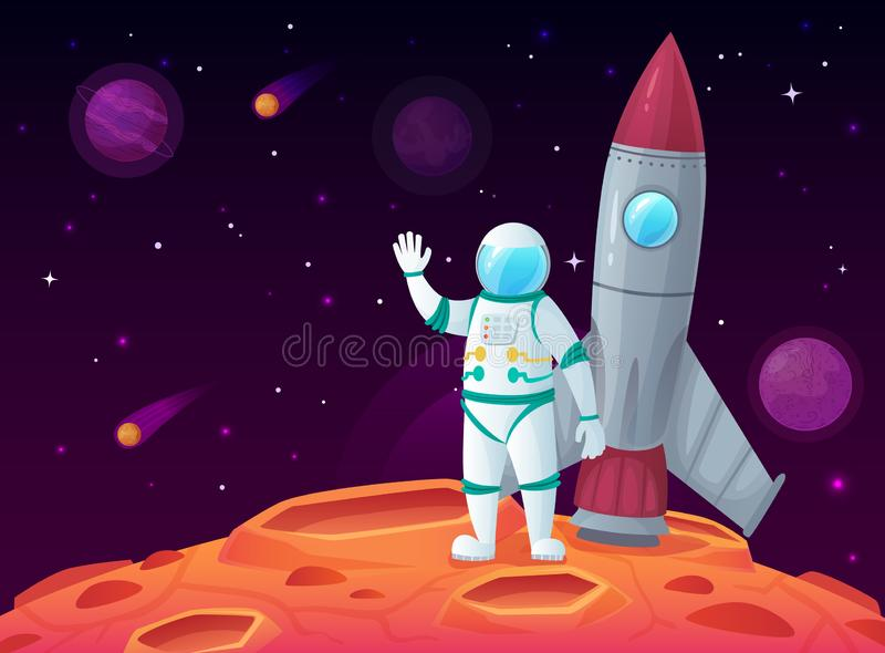 Astronaut in lunar surface. Rocket spaceship, space planet and outerspace travel spacecraft vector cartoon illustration vector illustration