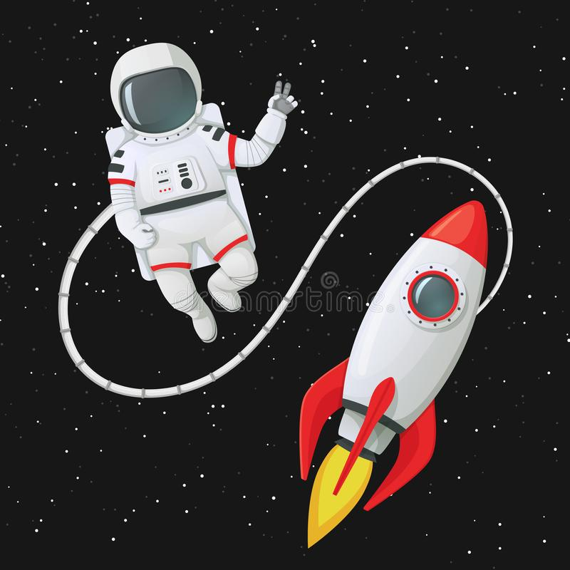 Free Astronaut Making Peace Sign Tethered To The Rocket Ship With Stars In The Background Royalty Free Stock Photos - 136554478