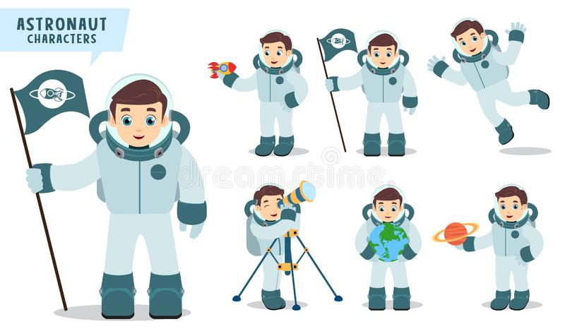 Astronaut man vector character set holding space flag, rocket, telescope and happy exploring planet vector illustration