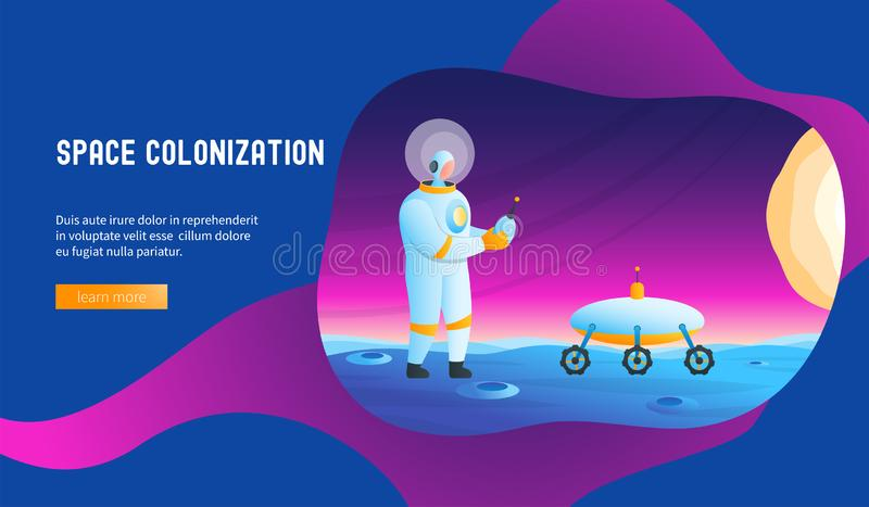 Astronaut manages rover. Space colonization concept. Modern vector illustration astronomy backend base bright colony color creative design extraterrestrial vector illustration