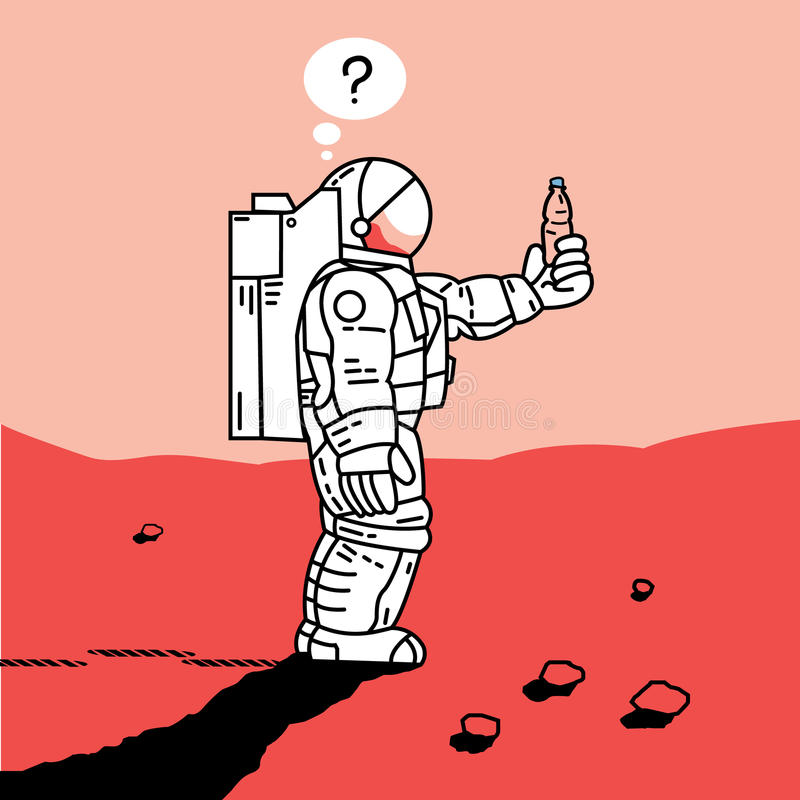 Astronaut on Mars royalty free illustration