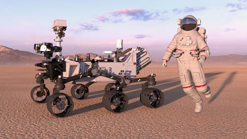 Astronaut with mars rover, cosmonaut jumping next to robotic space autonomous vehicle on a deserted planet, 3D render. Ing royalty free illustration