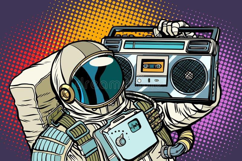 Astronaut med Boombox, ljudsignal och musik stock illustrationer