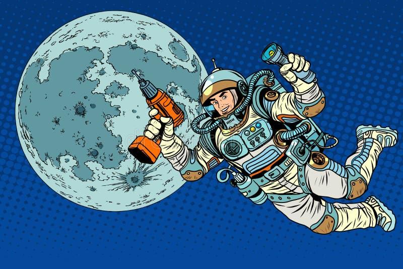 Astronaut med en drillborr och en ficklampa på månen royaltyfri illustrationer