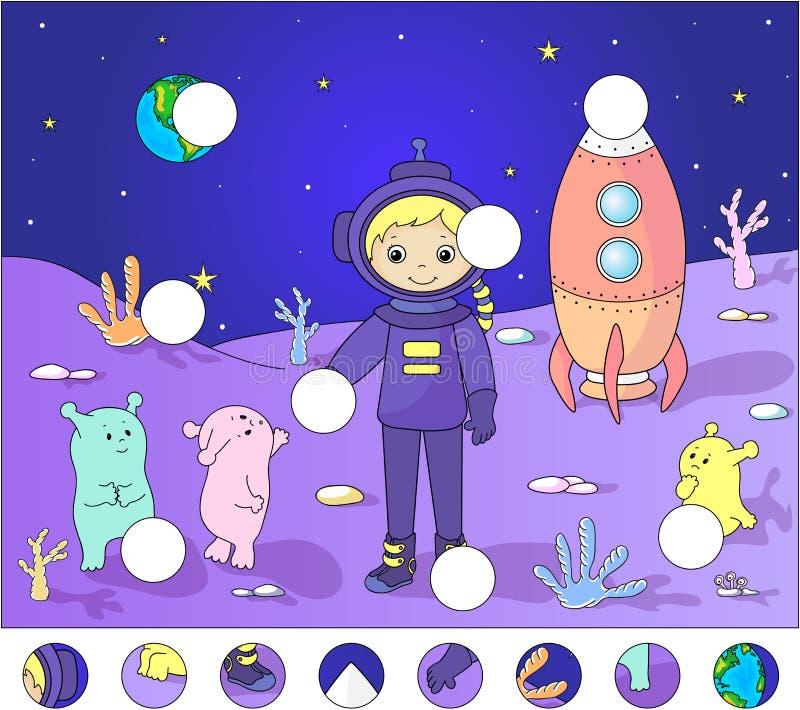 Astronaut med främlingar på yttersidan av månen avsluta puzzlen royaltyfri illustrationer