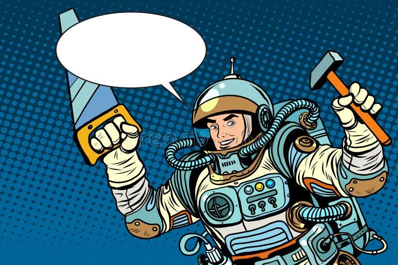 Astronaut med hjälpmedel för reparation stock illustrationer