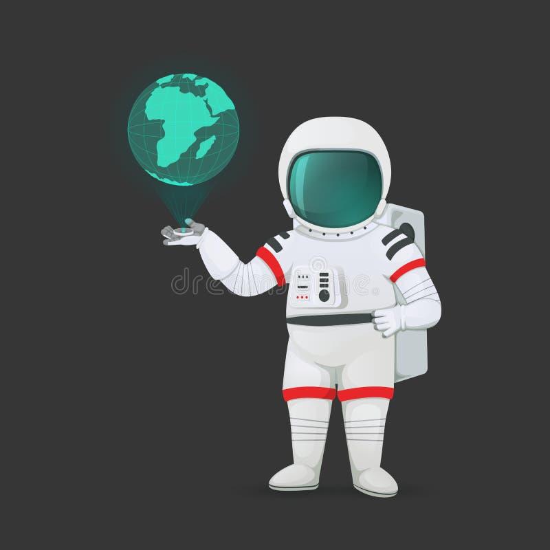 Astronaut med hologramapparaten som projekterar planetjord Isolerat på en mörk bakgrund huvudet för uppnosiga gulliga hundar för  stock illustrationer