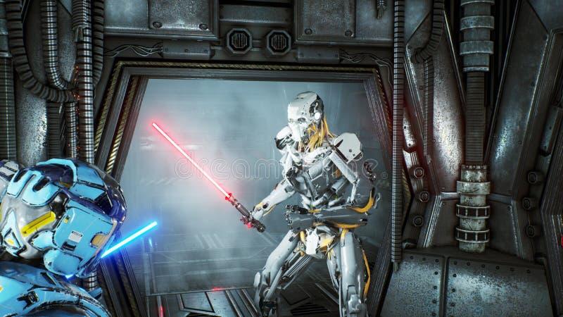 Astronaut med laser-svärd dolde i en bakhåll på en främmande robotangripare på hans rymdskepp Toppet realistiskt science fictionb vektor illustrationer