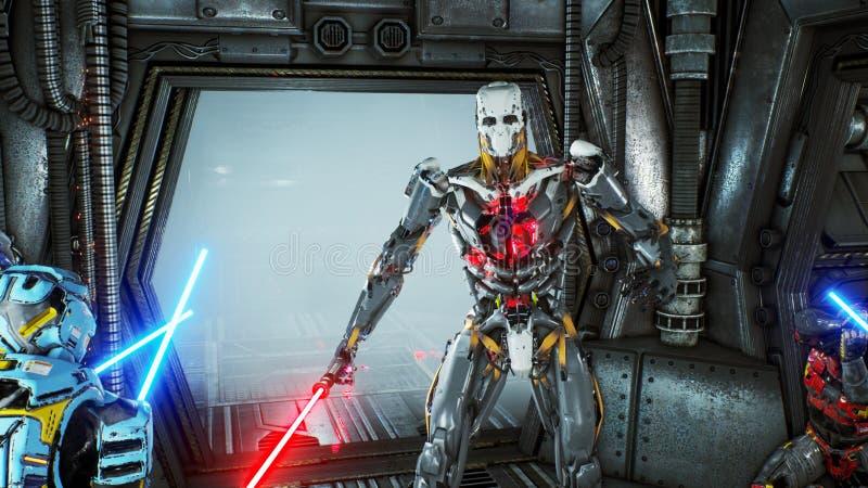 Astronaut med laser-svärd dolde i en bakhåll på en främmande robotangripare på hans rymdskepp Toppet realistiskt science fictionb royaltyfri illustrationer