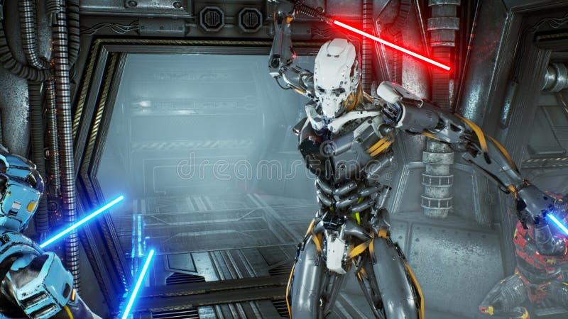 Astronaut med laser-svärd dolde i en bakhåll på en främmande robotangripare på hans rymdskepp Toppet realistiskt science fictionb stock illustrationer
