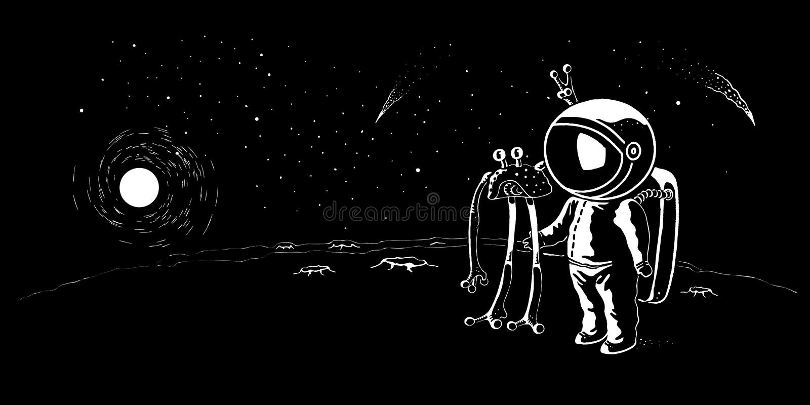 Astronaut meeting ufo vector illustration, banner. Man traveling in the galaxy to stars and planets. Scientific journey concept banner