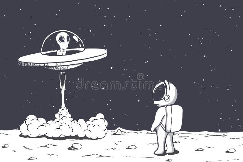 Astronaut meets a alien stock illustration