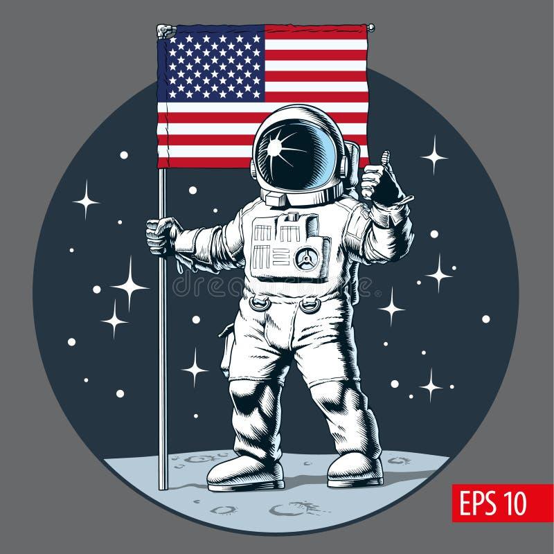 Astronaut met Amerikaanse vlagtribunes op maan Vector illustratie vector illustratie