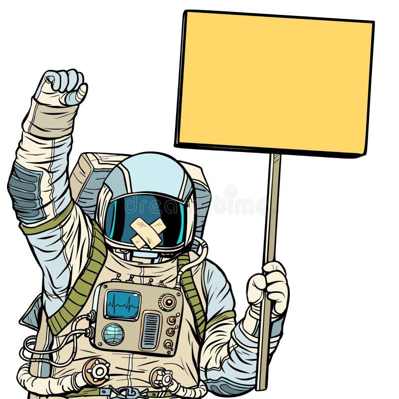 Astronaut met prop het protesteren Isoleer op witte achtergrond stock illustratie