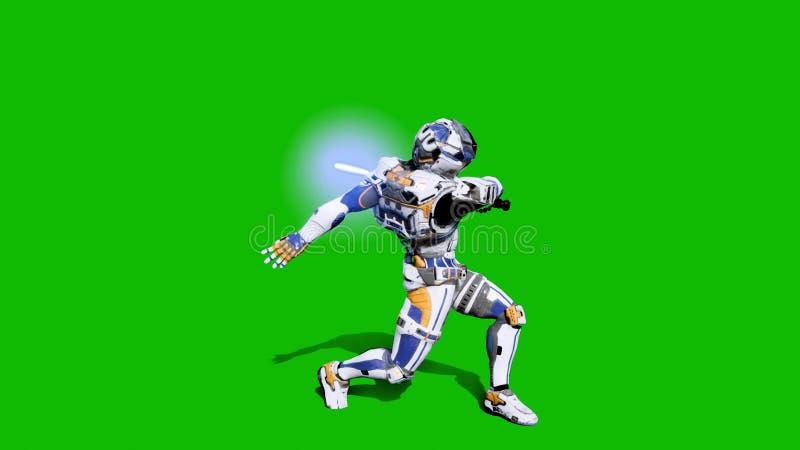 Astronaut-militair van het toekomstige vechten met een lightsaber voor het groen scherm het 3d teruggeven royalty-vrije illustratie