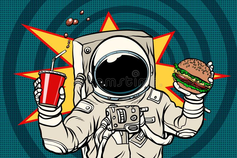 Astronaut mit einem Burger und einem Getränk stock abbildung
