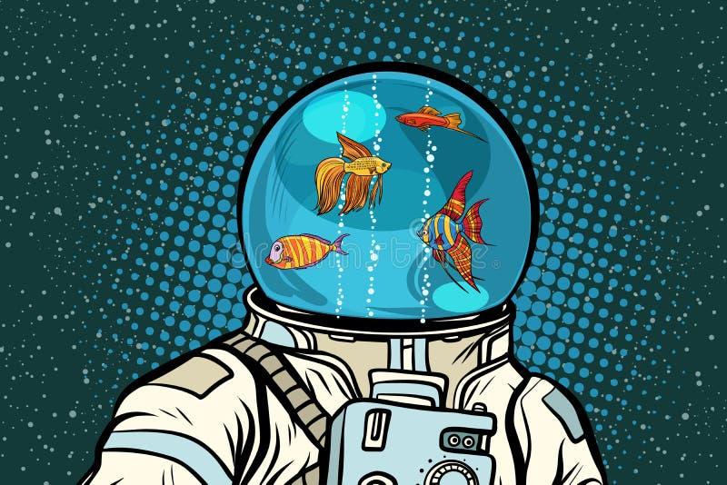 Astronaut mit Sturzhelmaquarium mit Fischen stock abbildung