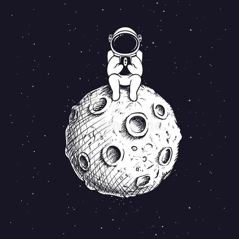 Astronaut with mobile phone on moon stock illustration