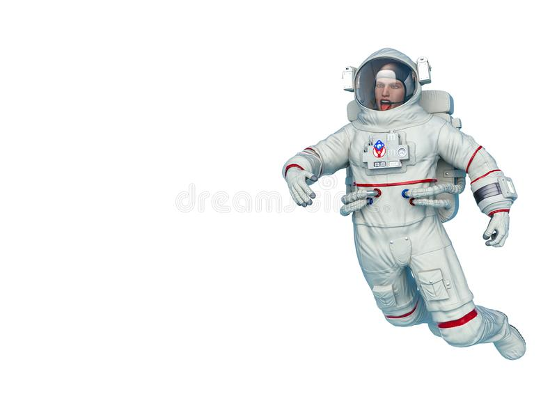 Astronaut mockery drifting in a white background stock illustration