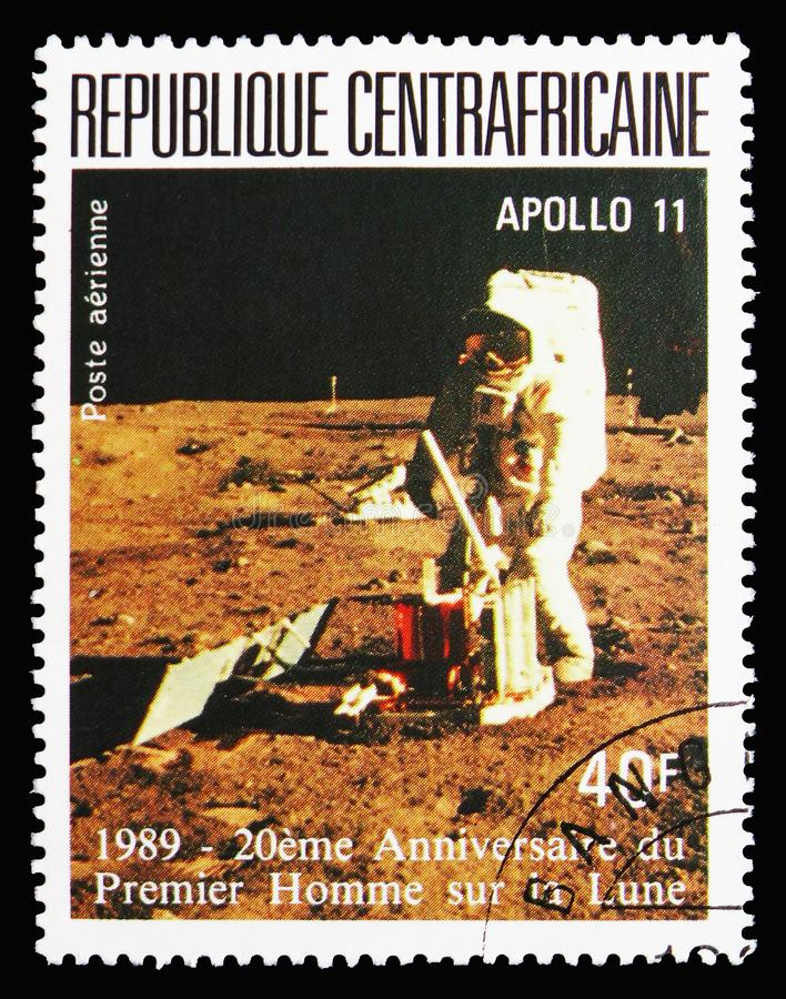 Astronaut on the moon, 20 Anniversary Of The First Manned Landing On The Moon serie, circa 1989. MOSCOW, RUSSIA - SEPTEMBER 15, 2018: A stamp printed in Central royalty free stock image