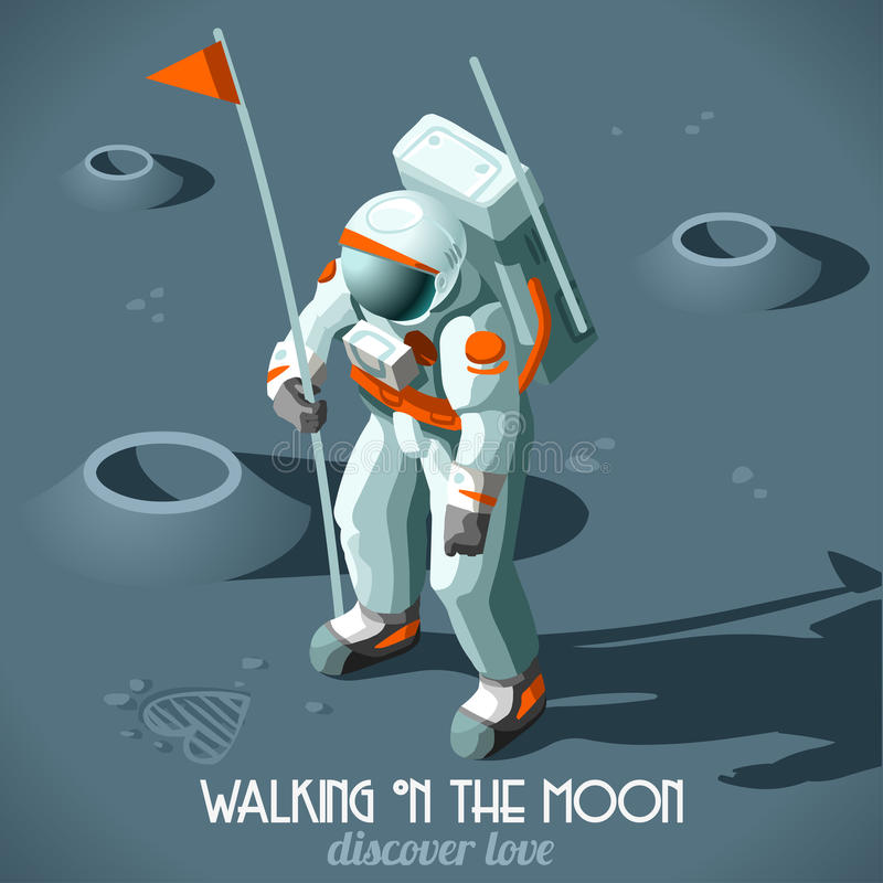 Astronaut Moon Landing Isometric stock illustrationer