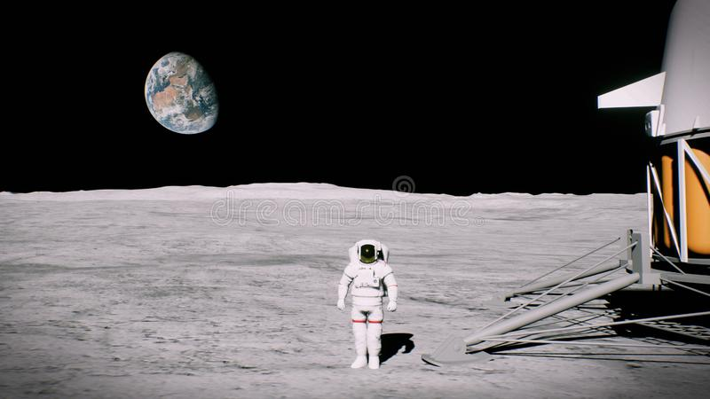 Astronaut on the moon near the lander salutes. 3D Rendering. HD Astronaut on the moon near the lander salutes stock images