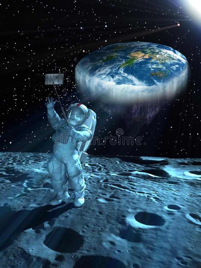 Selfie with flat Earth in space. Astronaut on the Moon, taking a selfie with a flat Earth at his back vector illustration