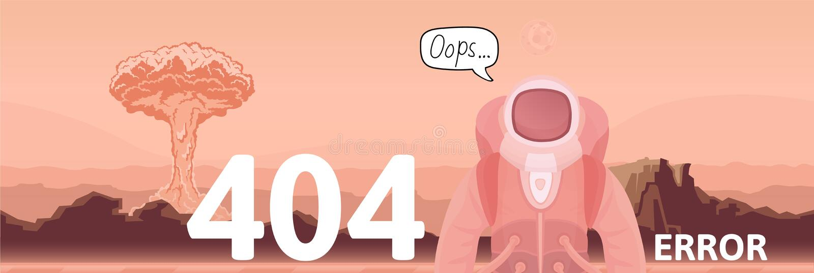 Astronaut and nuclear explosion on Mars desert background. Text warning message 404 error. Oops 404 error page, vector. Template for website. Colored flat royalty free illustration