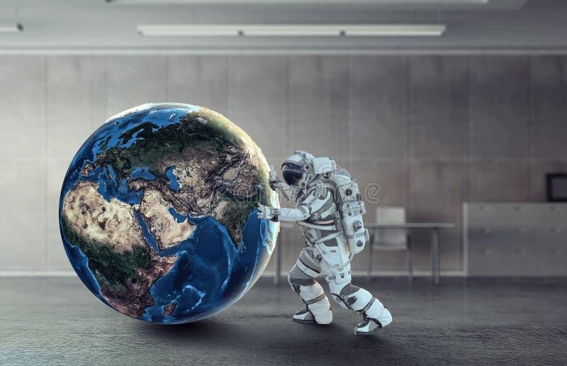 Astronaut och hans beskickning Blandat massmedia arkivfoton