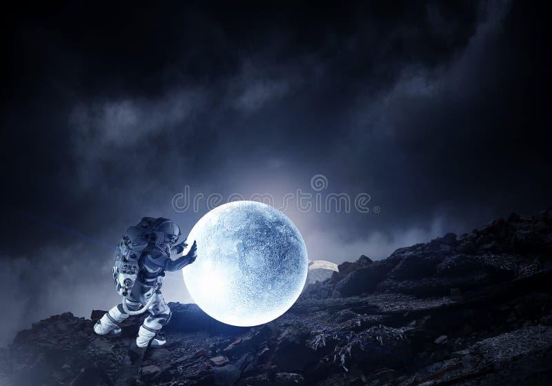 Astronaut och hans beskickning Blandat massmedia royaltyfri fotografi