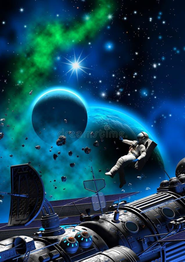 Astronaut och rymdskepp nära en planet med månen, mörk himmel med nebulosan och stjärnor, illustration 3d royaltyfri illustrationer