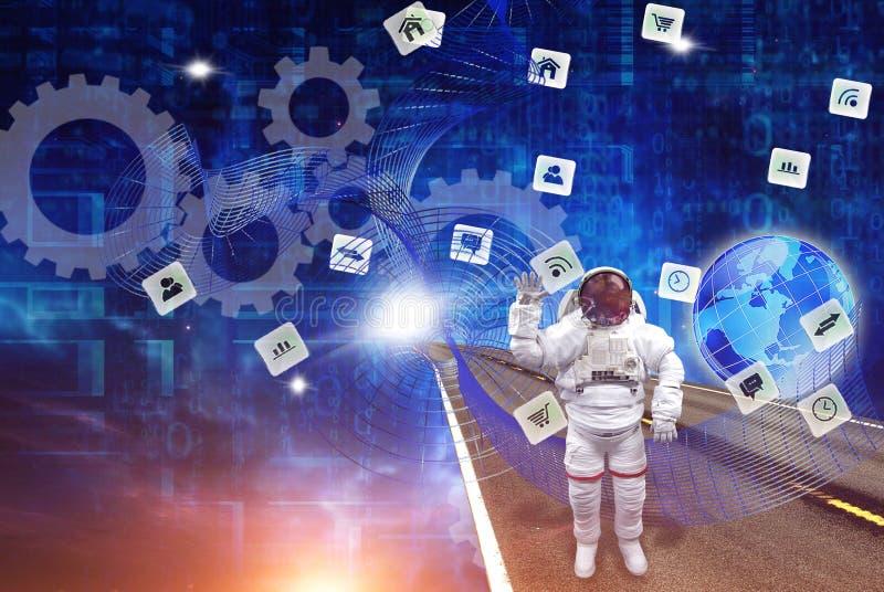 Astronaut och trådlös internet royaltyfria bilder