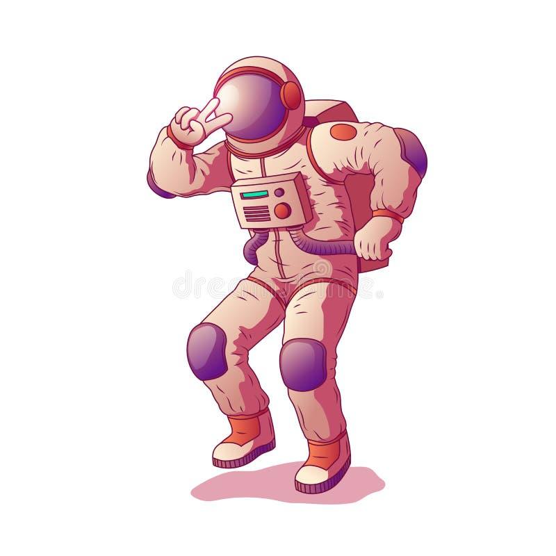 Astronaut oder tragender Raumanzug des Raumfahrercharakters vektor abbildung