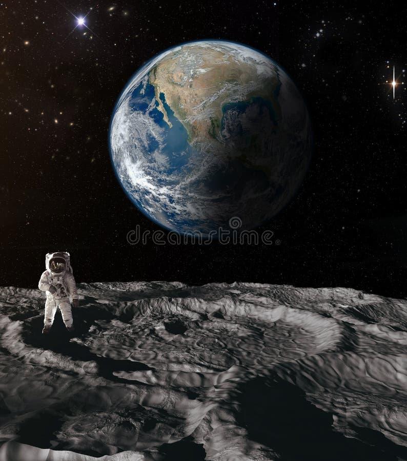 Astronaut op de Maan stock afbeelding