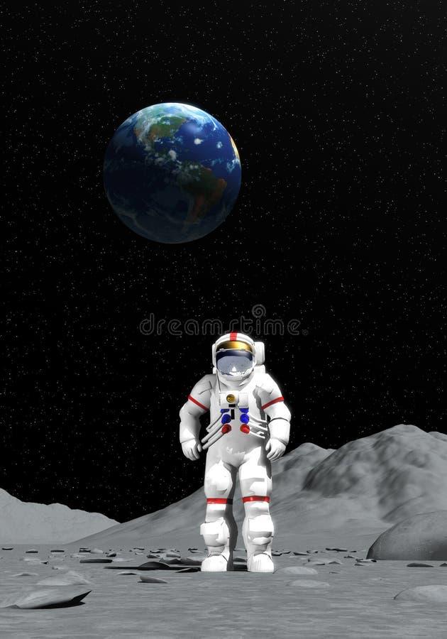 Astronaut op de maan stock illustratie