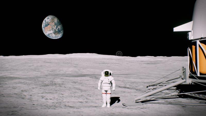 Astronaut op de maan dichtbij de landerbegroetingen het 3d teruggeven stock afbeeldingen