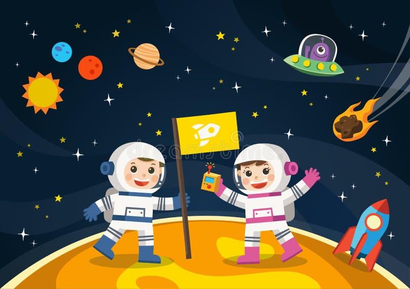 Astronaut op de planeet met een vreemd ruimteschip stock illustratie