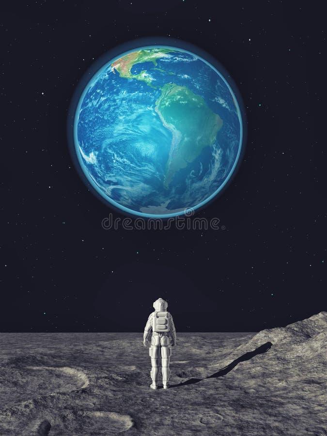 Astronaut op de stadsachtergrond die aan de maan kijken stock illustratie