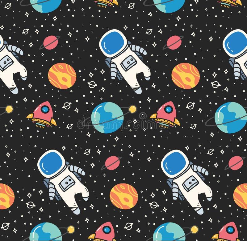 Astronaut op ruimte naadloze achtergrond in de vector van de kawaiistijl vector illustratie