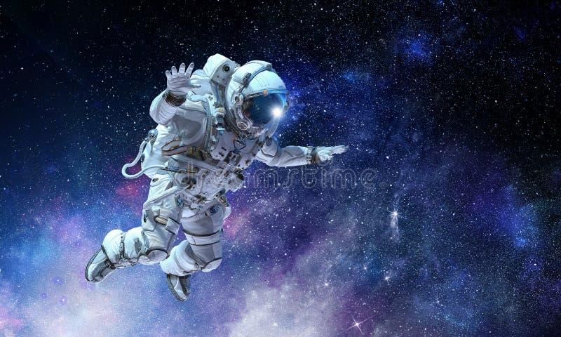 Astronaut op ruimteopdracht Gemengde media royalty-vrije stock afbeeldingen