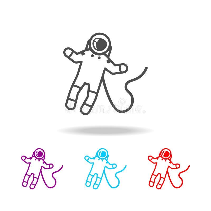 Astronaut op ruimtepictogram Elementen van ruimte in multi gekleurde pictogrammen Grafisch het ontwerppictogram van de premiekwal stock illustratie