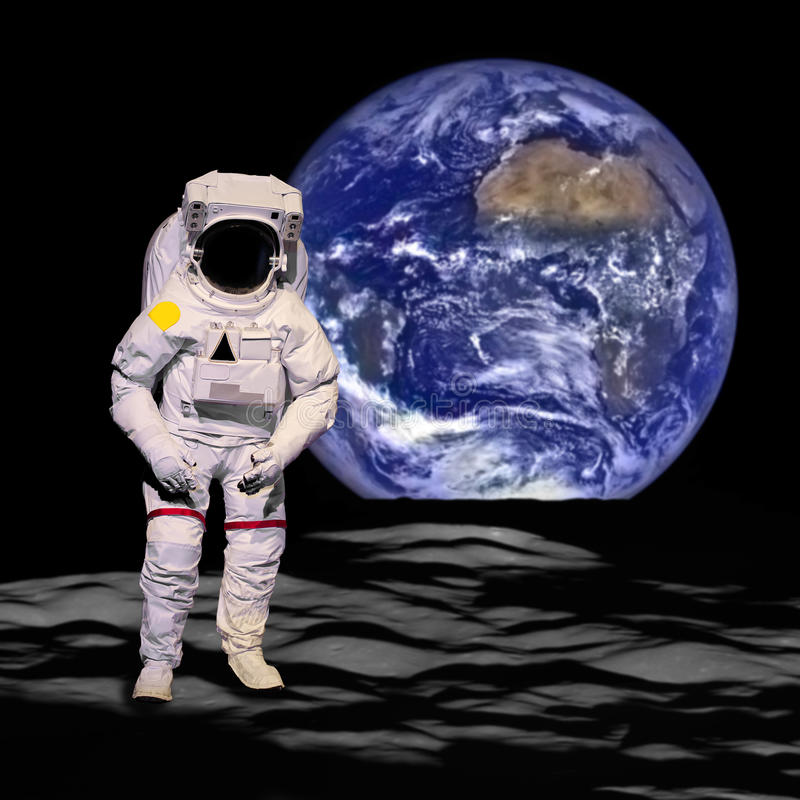 Astronaut out of space to the moon dicut - Elements of this image furnished by NASA stock photo